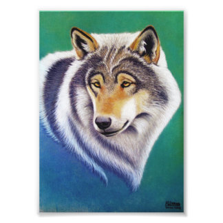 retrato animal del lobo gris en la impresión en cojinete