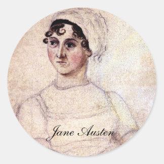 Retrato antiguo de Jane Austen Etiqueta Redonda