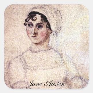 Retrato antiguo de Jane Austen Colcomanias Cuadradas Personalizadas