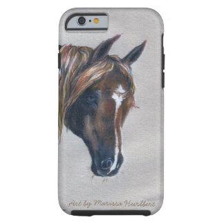 retrato árabe del caballo de la castaña del caso funda resistente iPhone 6