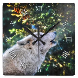 Retrato ártico de la foto del lobo gris del grito reloj cuadrado