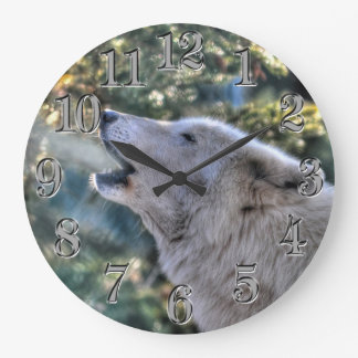 Retrato ártico del lobo gris del grito reloj redondo grande