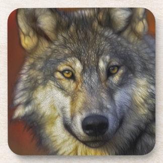 Retrato artístico hermoso del lobo gris posavaso