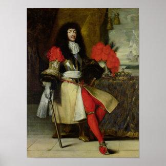 Retrato asentado de Louis XIV después de 1670 Póster