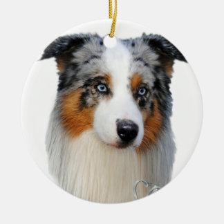 Retrato australiano del pastor adorno navideño redondo de cerámica