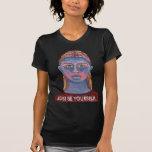 Retrato azul de la mujer único camiseta
