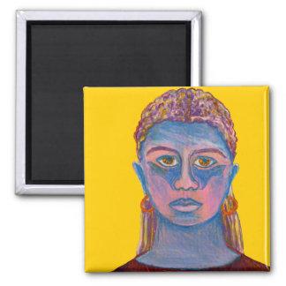 Retrato azul de la mujer único imán cuadrado