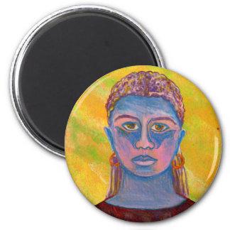 Retrato azul de la mujer único imán redondo 5 cm