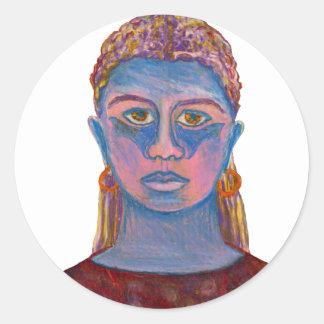 Retrato azul de la mujer único pegatina redonda