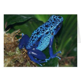 Retrato azul de la rana de la flecha del veneno tarjeta de felicitación