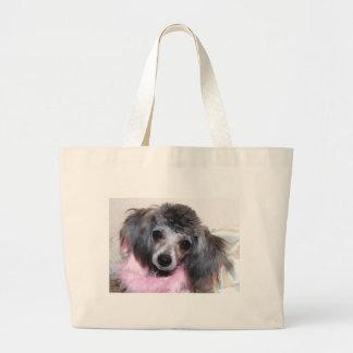 Retrato azul de plata de la cara del perrito del c bolsas de mano