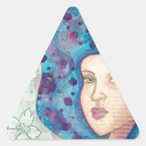 Retrato azul del chica. Pelo largo. Pintura Calcomanías Triangulos Personalizadas