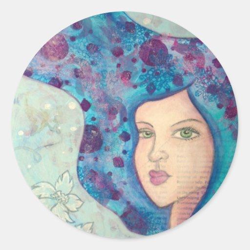 Retrato azul del chica. Pelo largo. Pintura Etiquetas Redondas