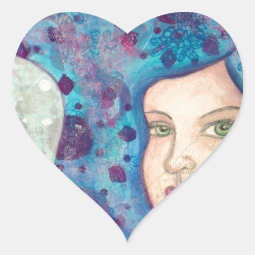 Retrato azul del chica. Pelo largo. Pintura Pegatinas Corazon