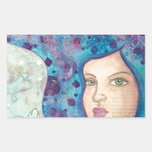 Retrato azul del chica. Pelo largo. Pintura Rectangular Pegatina