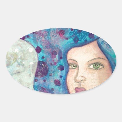 Retrato azul del chica. Pelo largo. Pintura Calcomanía De Óval Personalizadas