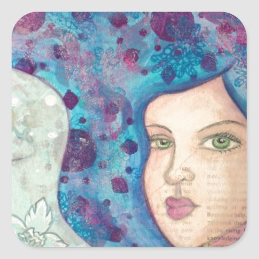 Retrato azul del chica. Pelo largo. Pintura Calcomania Cuadradas Personalizada