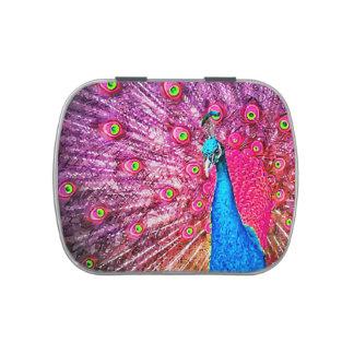 Retrato azul rosado de neón del pavo real jarrones de caramelos