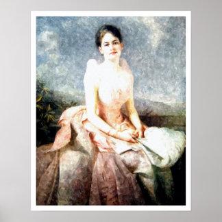 Retrato bajo de Juliette Gordon de la acuarela Póster