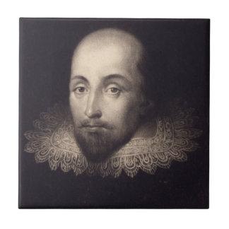 """Retrato baldosa cerámica de Shakespeare"" Azulejo Cuadrado Pequeño"
