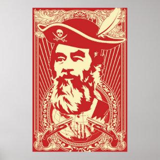 Retrato barbudo de Saddam Hussein Poster
