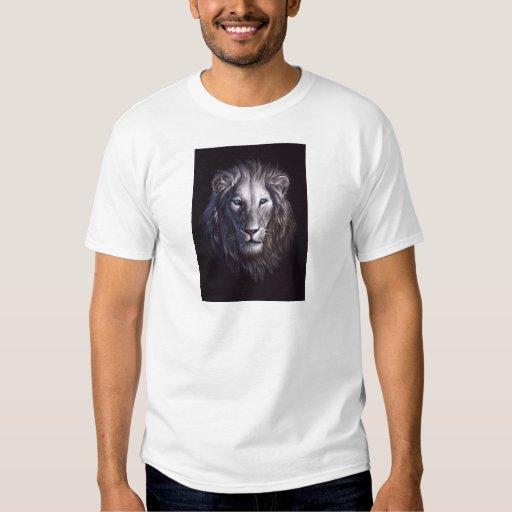 Retrato blanco de la cara del león polera