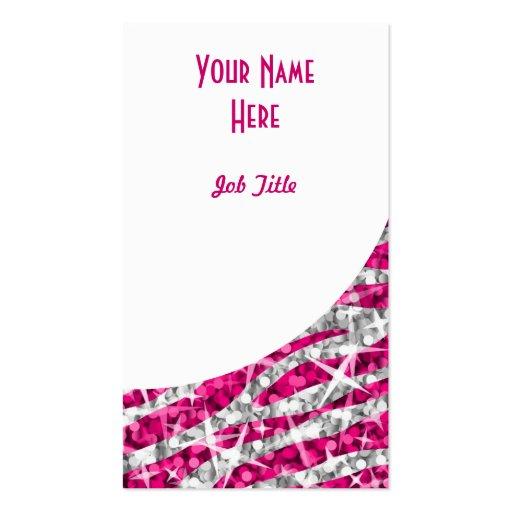 Retrato blanco de la curva del rosa de la cebra de tarjetas de visita