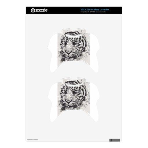Retrato blanco del tigre mando xbox 360 calcomanía