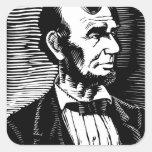 Retrato blanco y negro de Abraham Lincoln del Calcomanías Cuadradass