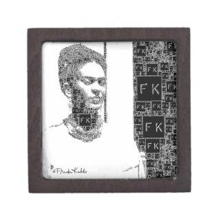 Retrato blanco y negro de Frida Kahlo Caja De Regalo De Calidad