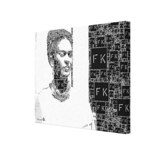 Retrato blanco y negro de Frida Kahlo Impresión En Lona Estirada