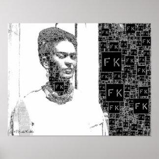 Retrato blanco y negro de Frida Kahlo Posters