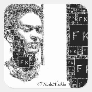 Retrato blanco y negro de Frida Kahlo Pegatina Cuadrada