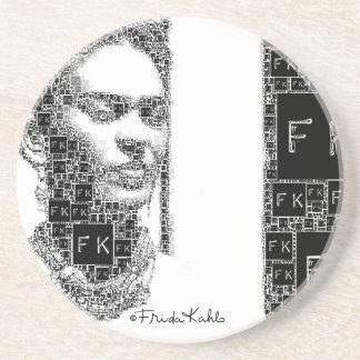 Retrato blanco y negro de Frida Kahlo Posavaso Para Bebida