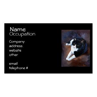 Retrato blanco y negro del gato tarjetas de visita