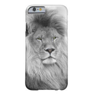 Retrato blanco y negro del león funda para iPhone 6 barely there