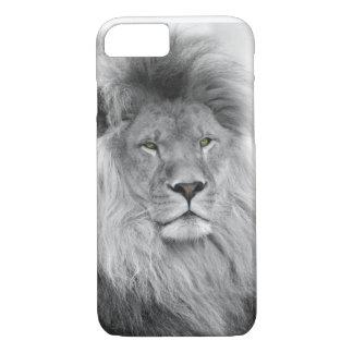 Retrato blanco y negro del león funda iPhone 7