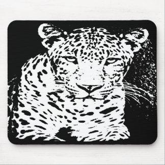 Retrato blanco y negro Mousepad del leopardo Alfombrillas De Raton