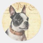 Retrato Boston Bull del perro del vintage de Pegatina Redonda