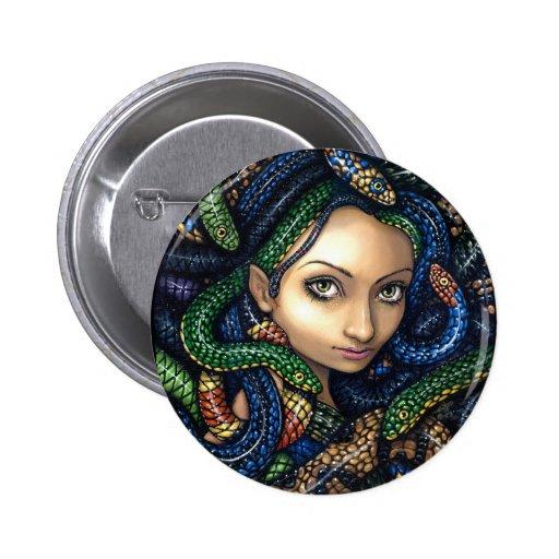 """""""Retrato botón de la medusa"""" Pin"""