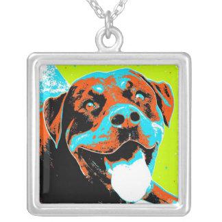 Retrato brillante y de la diversión de Rottweiler Colgante Cuadrado