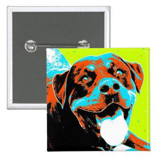 Retrato brillante y de la diversión de Rottweiler Pin Cuadrado