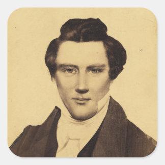 Retrato C.W. Carson 1879 del Jr. de Morman Joseph Pegatinas Cuadradases