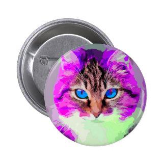 Retrato coloreado brillante de la cara del gato pin redondo de 2 pulgadas