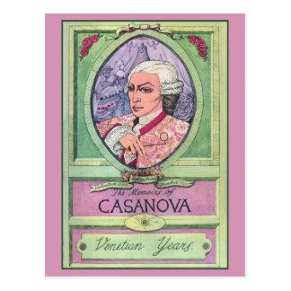 Retrato coloreado pastel de Casanova del vintage Postal