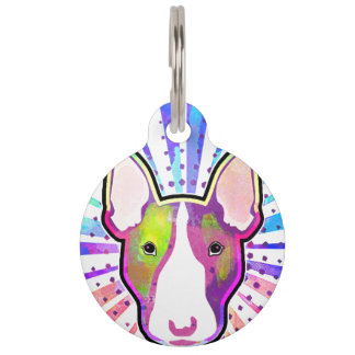 Retrato colorido del arte pop de bull terrier identificador para mascotas