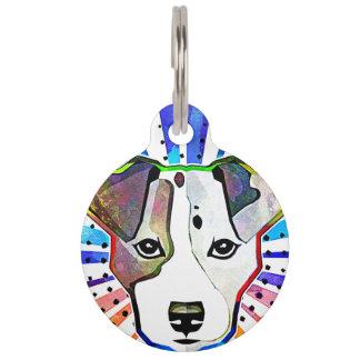 Retrato colorido del arte pop de Jack Russell Identificador Para Mascota