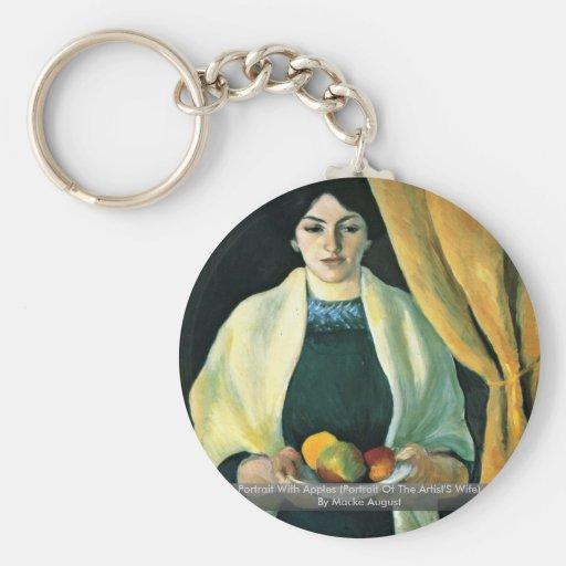 Retrato con las manzanas de Macke agosto Llavero Redondo Tipo Pin