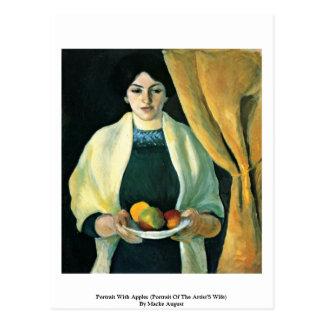 Retrato con las manzanas de Macke agosto Postal