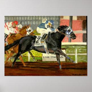 Retrato cuarto de la carrera de caballos póster